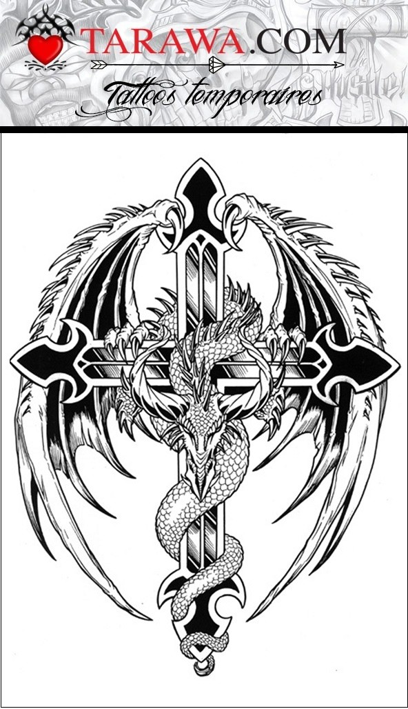 Tatouage Temporaire Croix Et Dragon Tarawa Tatouage