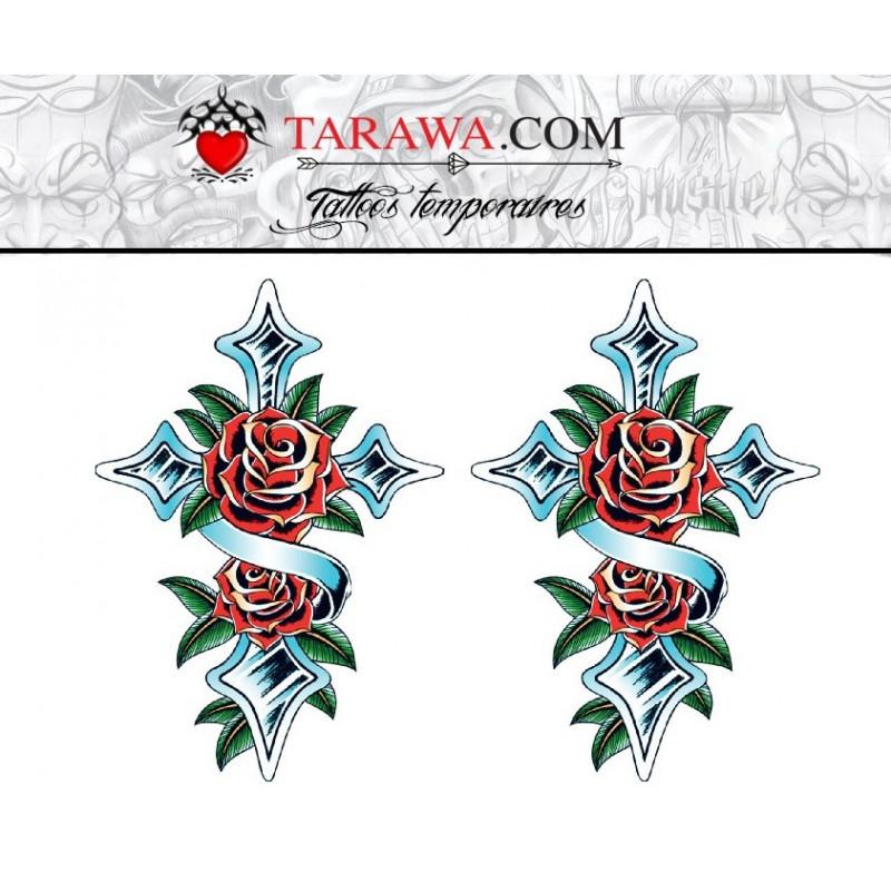 Tatouage temporaire motif croix et rose old school