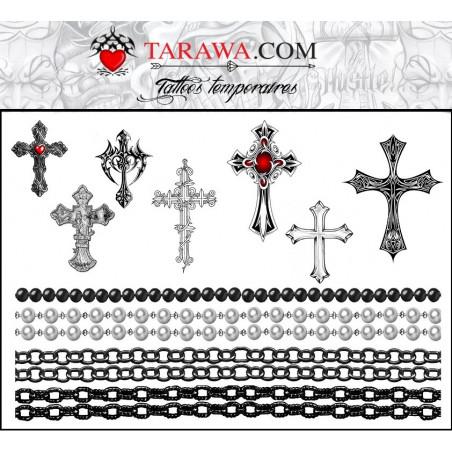Tatouages Croix et chaines format A5