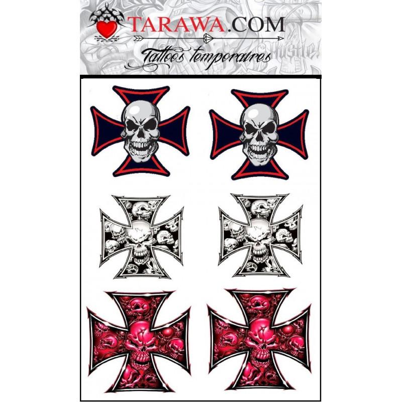 Tatouage éphémère croix de malte tête de mort pas cher