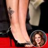 Tatouage cheville Drew Barrymore motif croix