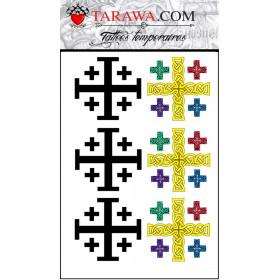 Tatouages temporaires Croix de Jerusalem pas cher