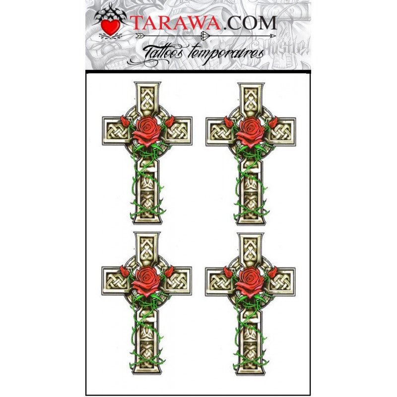 faux Tatouage temporaire motif Croix Celtique et Rose