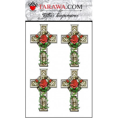 Tatouage temporaire Celtique Croix et Rose