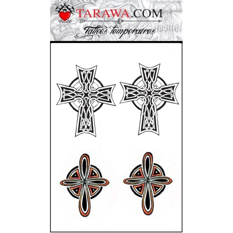 Tatouage temporaire 4 croix noeud celtique