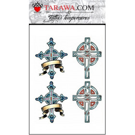 Planche faux tatouage 4 croix couleur