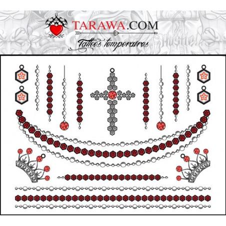 Tatouages temporaires chaines bijoux et croix