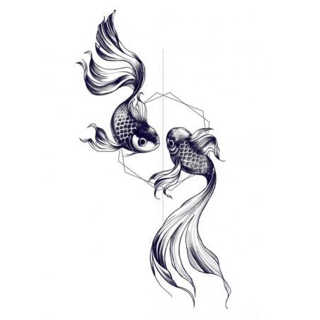 Tatouage éphémère double poisson