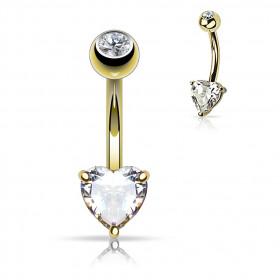 Piercing Nombril Coeur en or massif