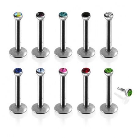 Piercing labret Acier cristal 2mm