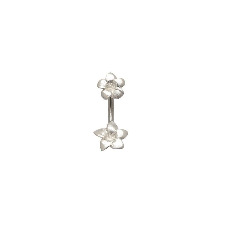 Piercing nombril argent double fleurs