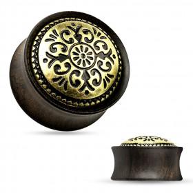 Plug bois ébène motif tribal antique doré pour femme et homme