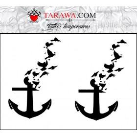Tatouage temporaire ancre marine de bateau et oiseaux