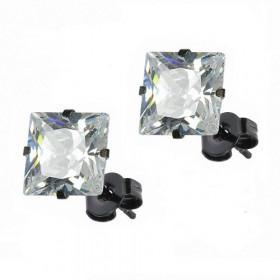 Boucles oreille noir carré cristal pour homme