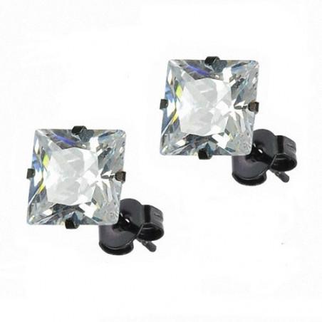 Boucles oreille noir carré cristal