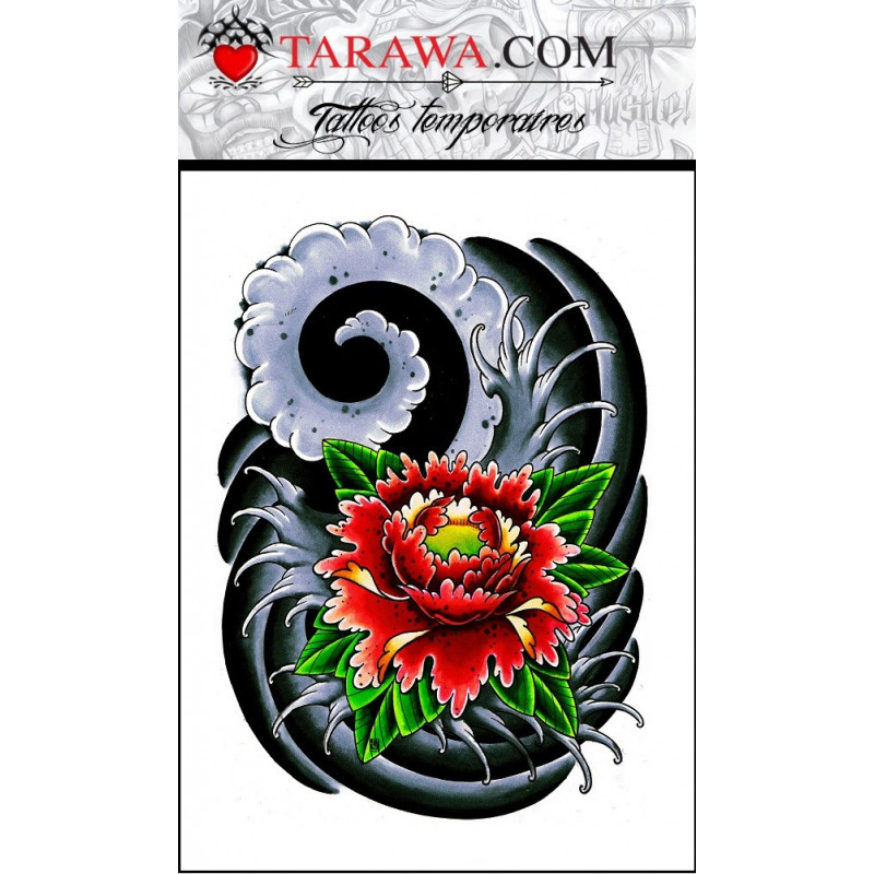 Tatouage éphémère fleur de lotus japonaise de couleur