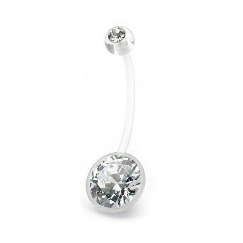 Piercing nombril de grossesse cristal blanc