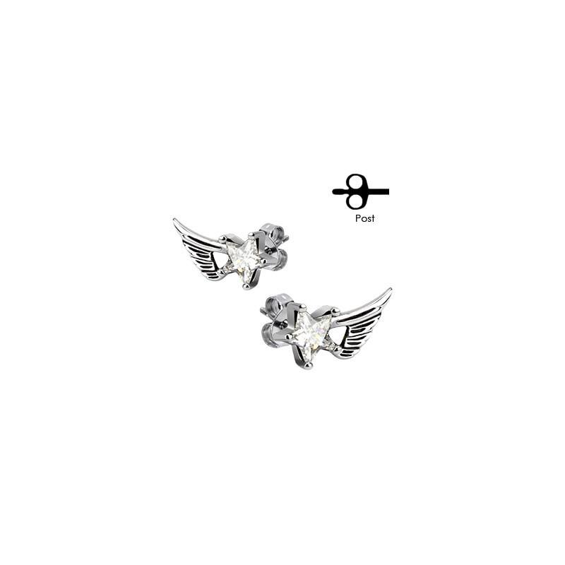 Boucles oreilles aile d'ange et étoile