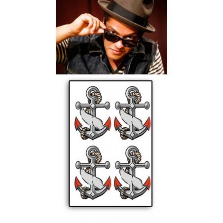 Bruno Mars tatouage éphémère ancres