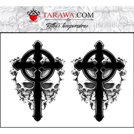Tatouage éphémère croix et tête de mort gothique