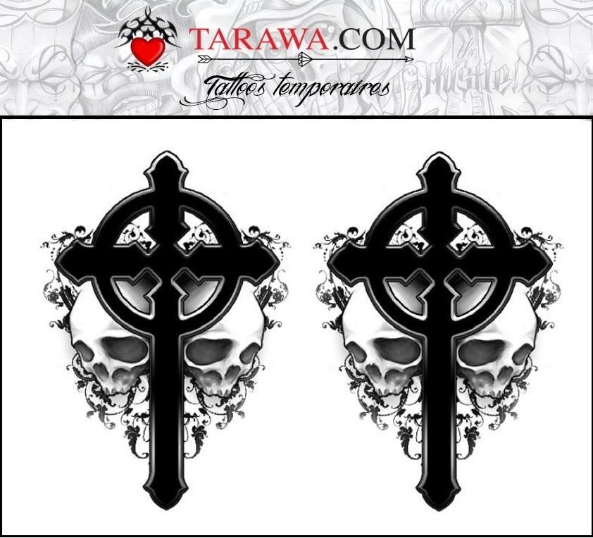 Tatouage Ephemere Croix Et Tete De Mort Gothique Tarawa Piercing