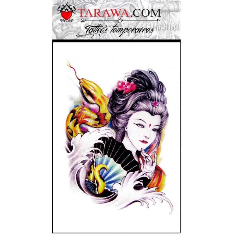 faux tatouage geisha japonaise et serpent tarawa piercing. Black Bedroom Furniture Sets. Home Design Ideas