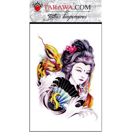 Faux tatouage geisha japonaise et serpent