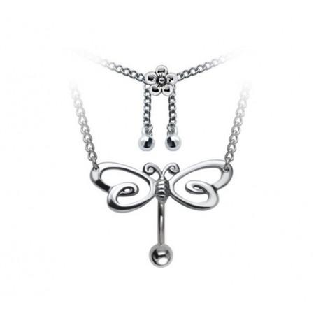 Piercing nombril chaîne de taille libellule invesé