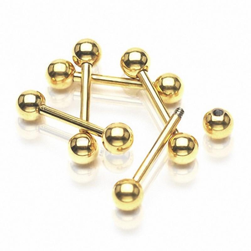 Piercing langue titane anodisé doré