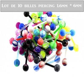 Lot de 10 billes piercing piercing nombril téton
