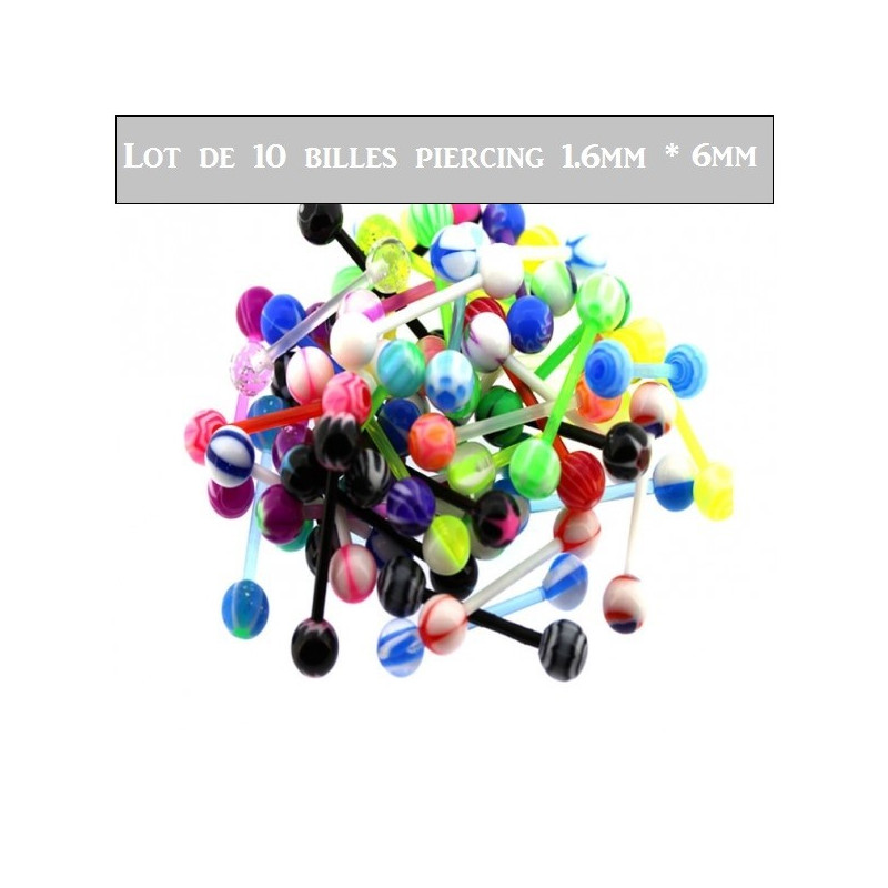 Lot de 10 billes piercing piercing nombril téton