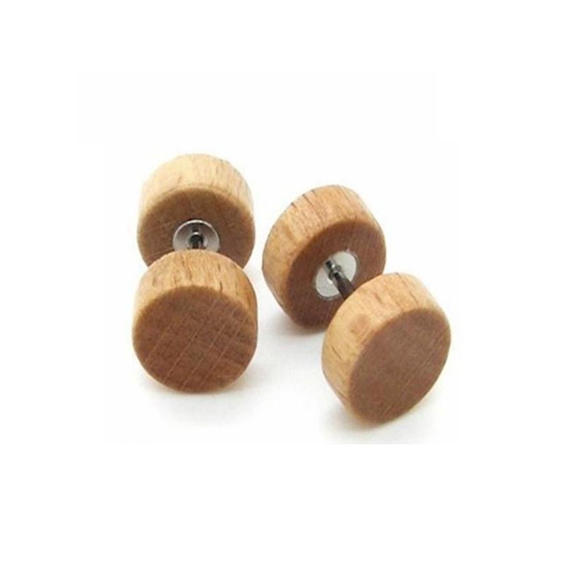 Faux écarteur oreille bois naturel
