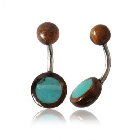 Piercing nombril bois tamarin et turquoise