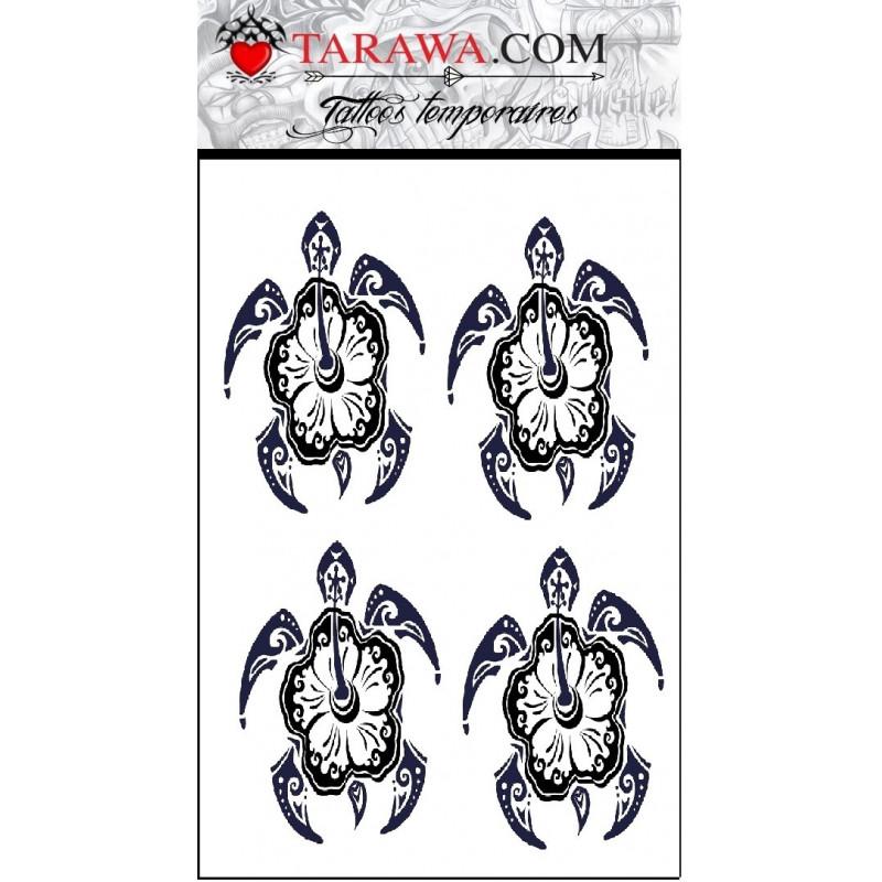 Tatouage stickers tortue fleur polynésienne