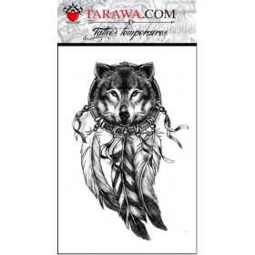 Tatouage décalcomanie loup et attrape rêve