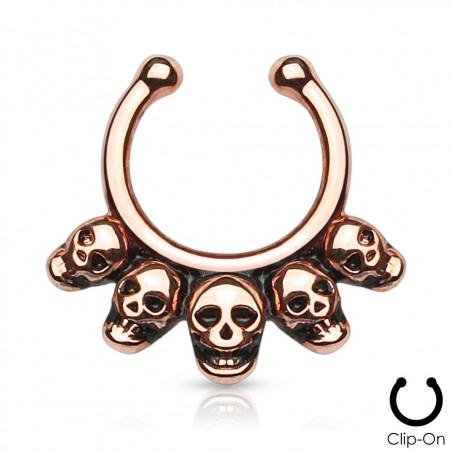 Faux piercing septum tête de mort or rose
