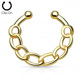 Faux piercing septum chaînette doré