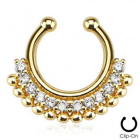 Faux piercing septum doré strass