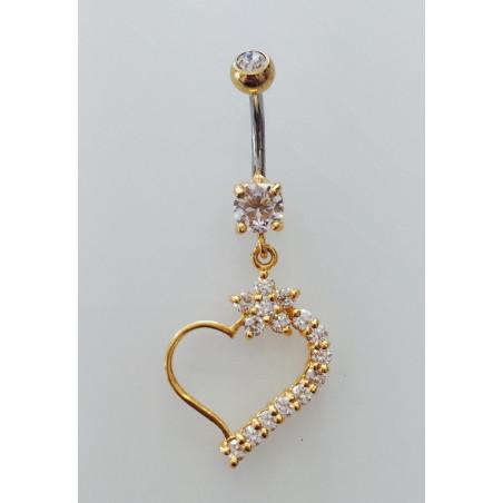 Piercing nombril cœur fleuri pendant plaqué or