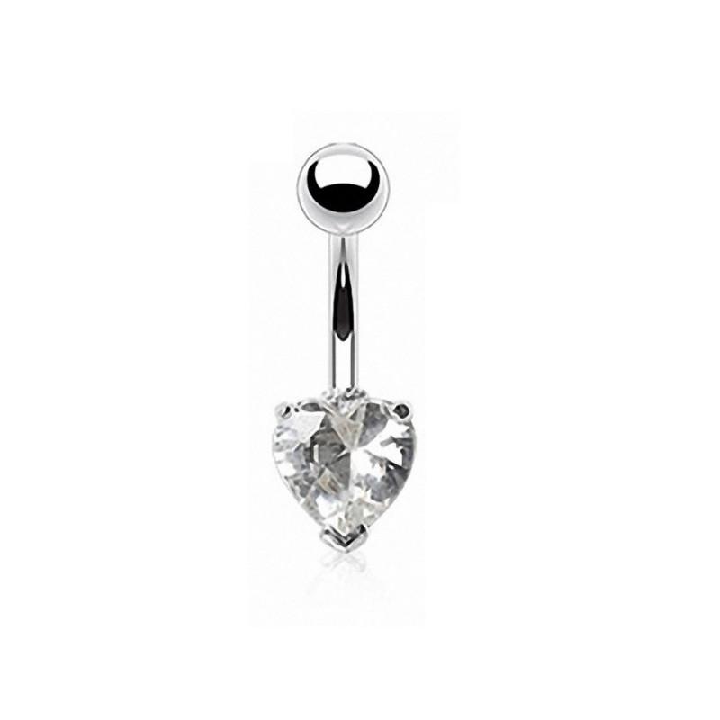 Piercing nombril coeur argent