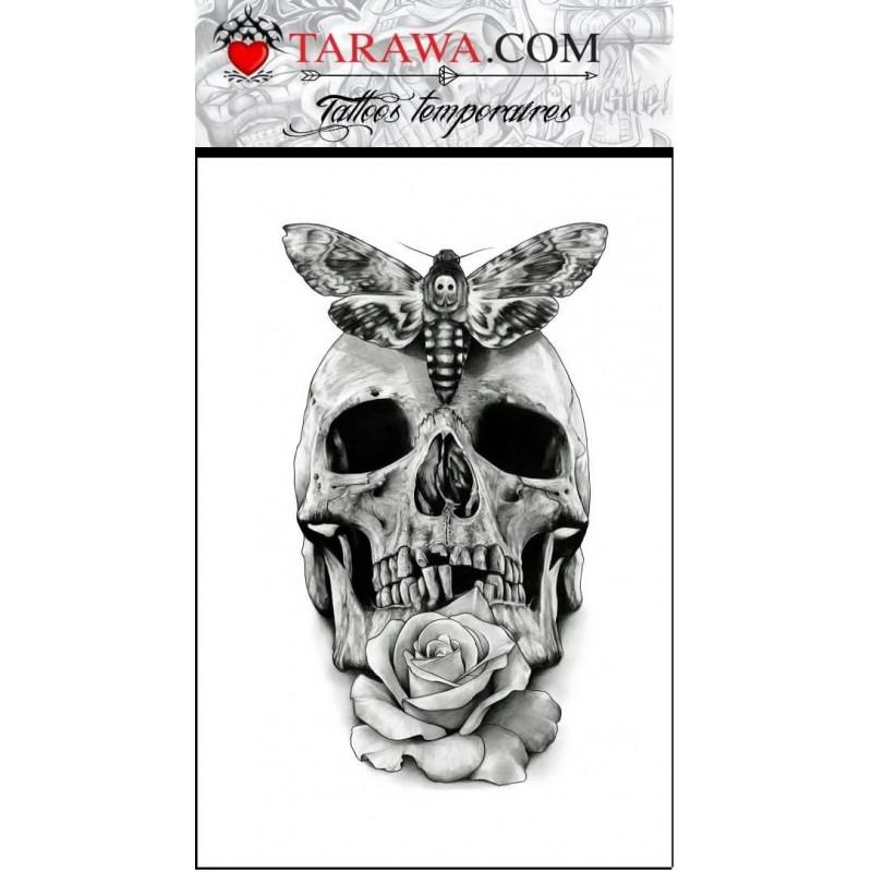 Tatouage temporaire tête de mort papillon rose
