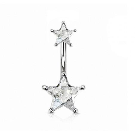 Piercing nombril double étoile argent
