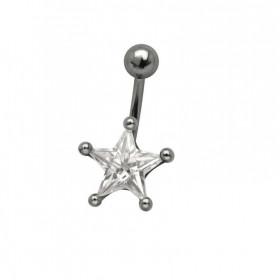 Piercing nombril étoile 10mm monture acier