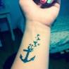 faux tattoo ancre et oiseau