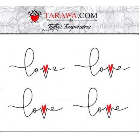Tatouage temporaire écriture Love avec coeur