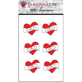 Tatouage éphémère cœur écriture Dad