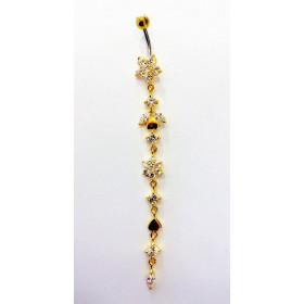 Long Piercing de nombril fleur en plaqué or