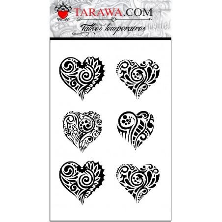Tatouages Coeur Maori et Polynesien autocollant