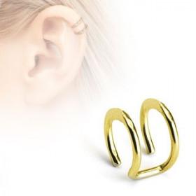 Faux piercing oreille double anneau doré