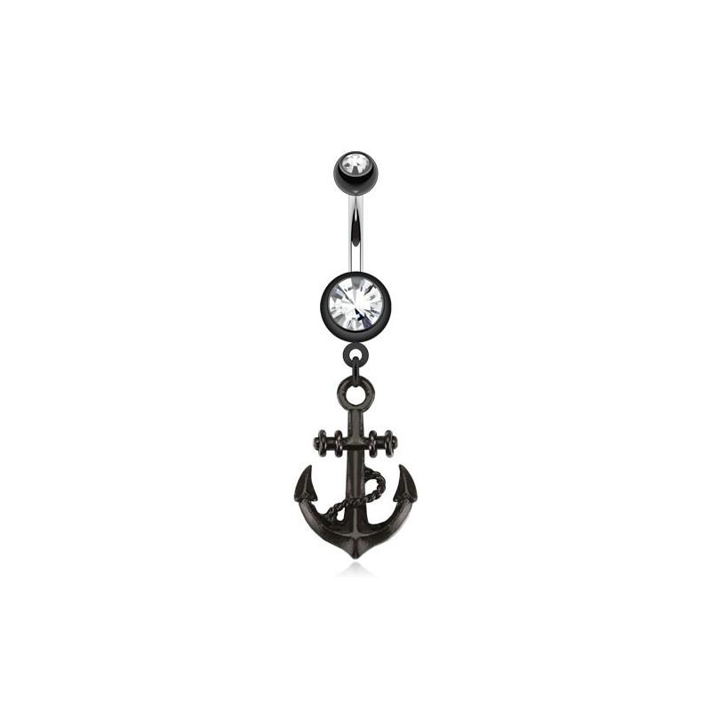 Piercing nombril en acier chirurgical noir pendentif Ancre marine Blackline avec cristal blanc